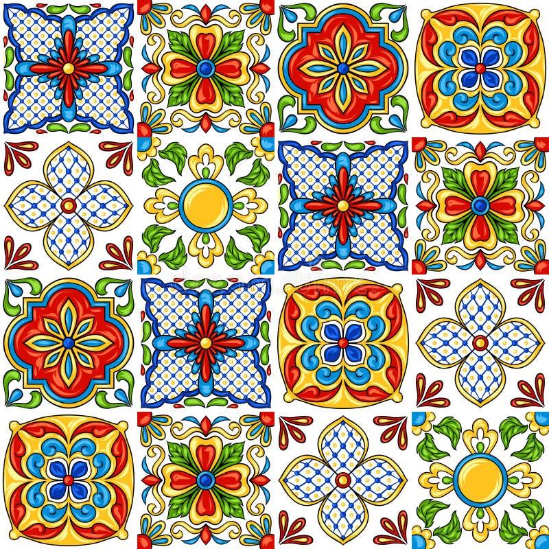 Teste padrão do azulejo de talavera do mexicano ilustração royalty free