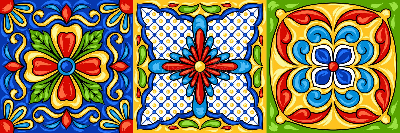 Teste padrão do azulejo de talavera do mexicano ilustração do vetor