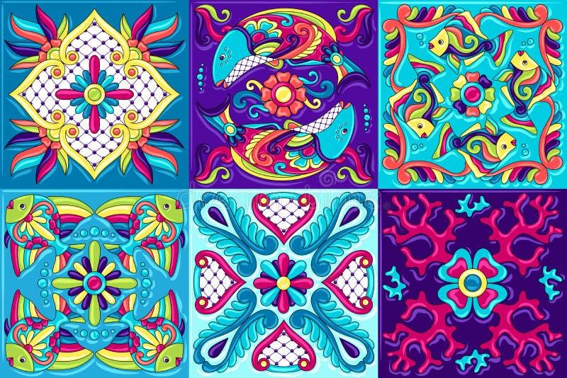 Teste padr?o do azulejo de talavera do mexicano com peixes ilustração do vetor