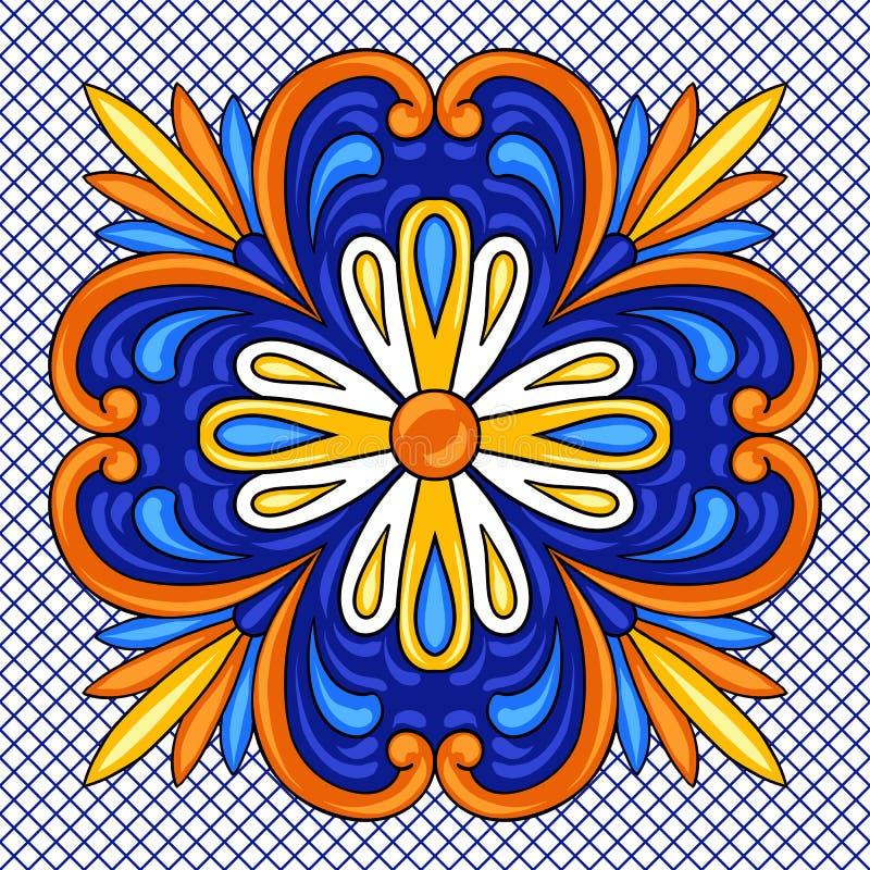 Teste padrão do azulejo de talavera do mexicano Ornamento popular étnico ilustração stock