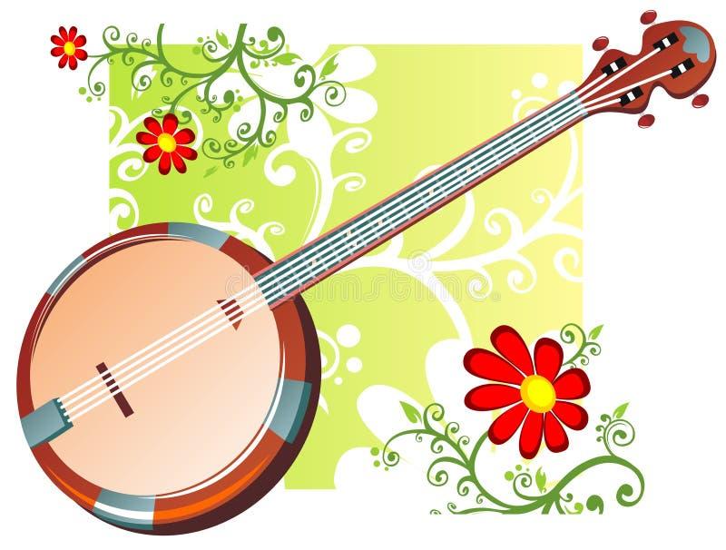 Teste padrão do banjo e de flores ilustração royalty free