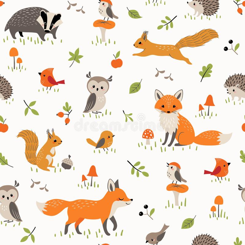 Teste padrão do bebê com os animais pequenos bonitos e os pássaros da floresta ilustração royalty free