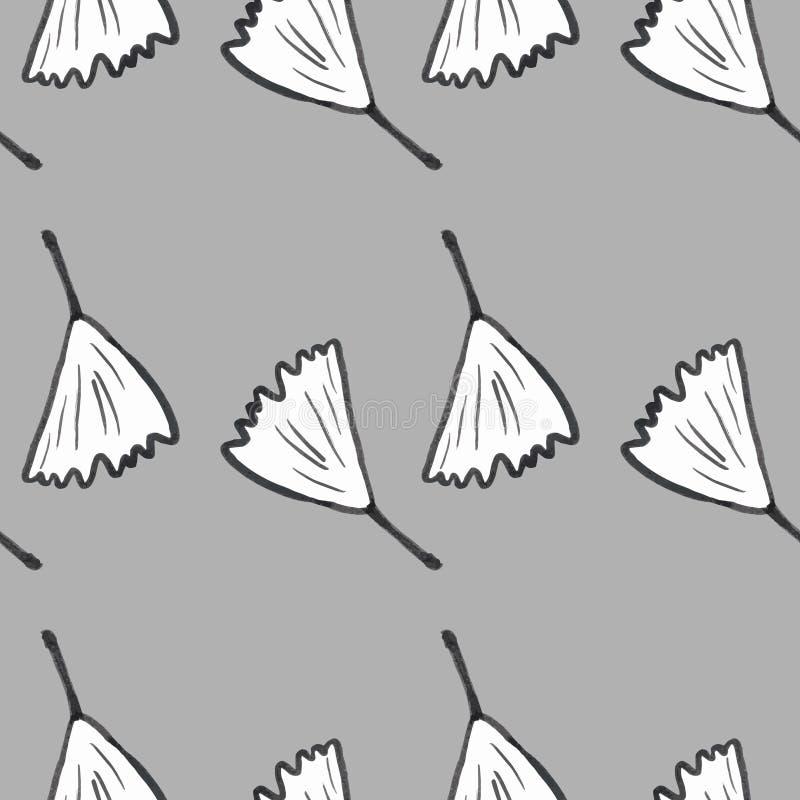 Teste padrão do biloba da nogueira-do-Japão sem emenda Silhueta das folhas do ginko ilustração royalty free