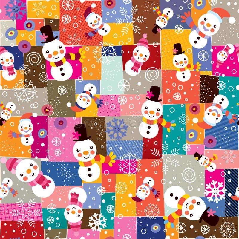 Teste padrão do boneco de neve do Natal & da colagem dos flocos de neve ilustração do vetor
