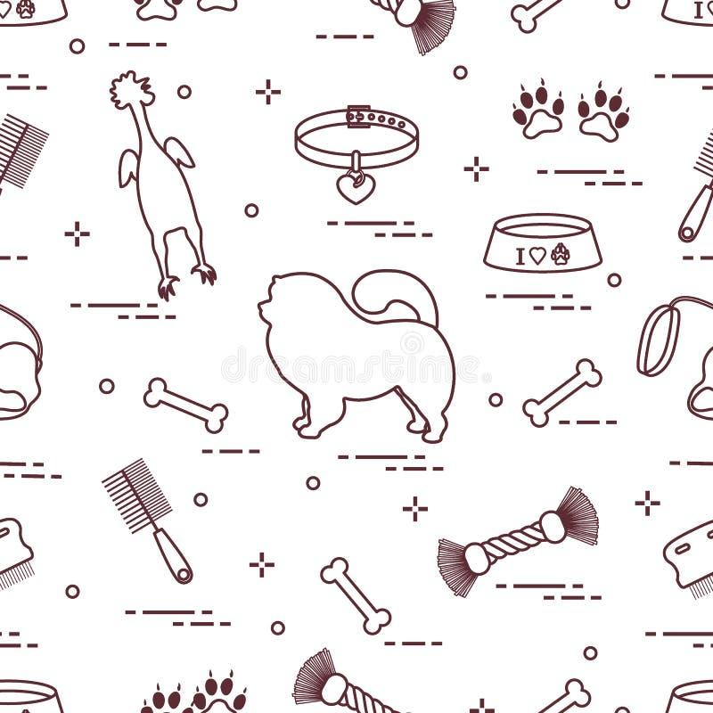 Teste padrão do cão da comida-comida da silhueta, da bacia, do osso, da escova, do pente, dos brinquedos e dos outros artigos ao  ilustração do vetor
