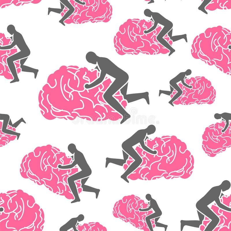 Teste padrão do cérebro sem emenda E Sexo do homem no giro ilustração stock