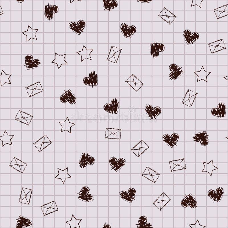 Teste padrão do caderno da escola Corações, envelopes, estrelas no CCB esquadrado ilustração do vetor