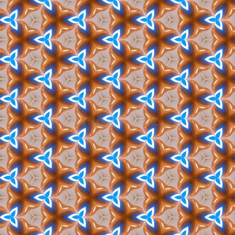 Teste padrão do caleidoscópio de Brown azul fotos de stock royalty free