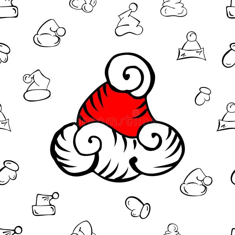 Teste padrão do chapéu do Natal ilustração stock