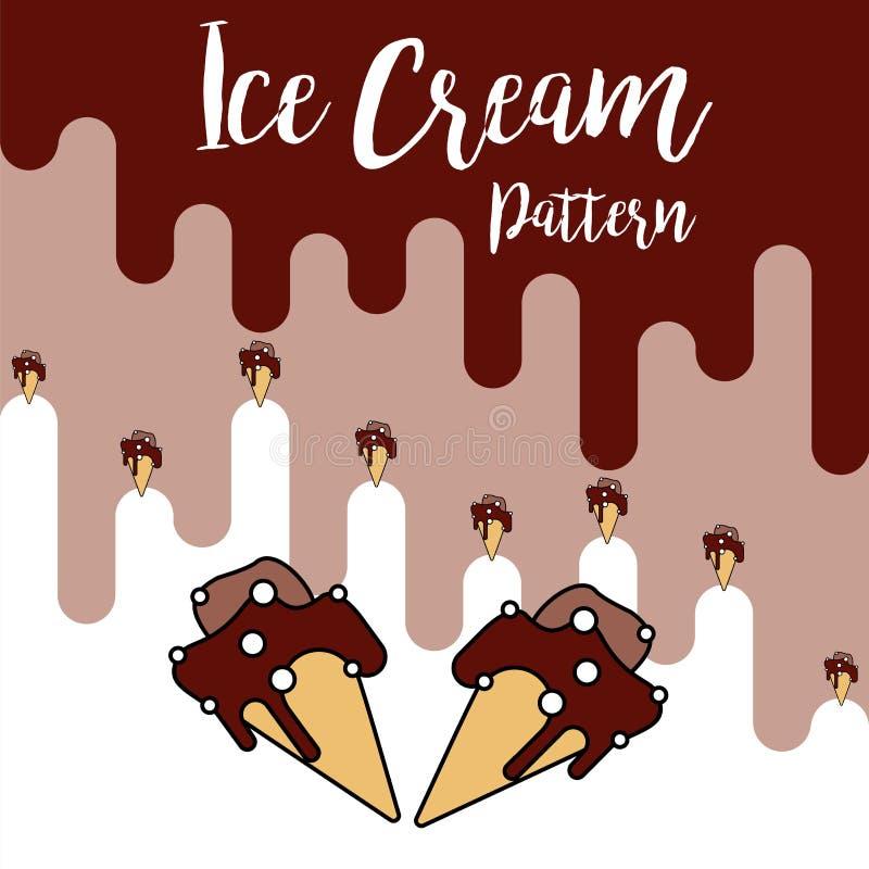 Teste padrão do chocolate do cone de gelado da cópia ilustração royalty free