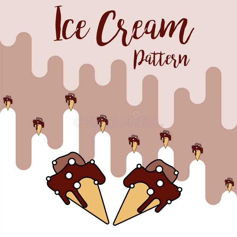 Teste padrão do chocolate do cone de gelado da cópia ilustração stock