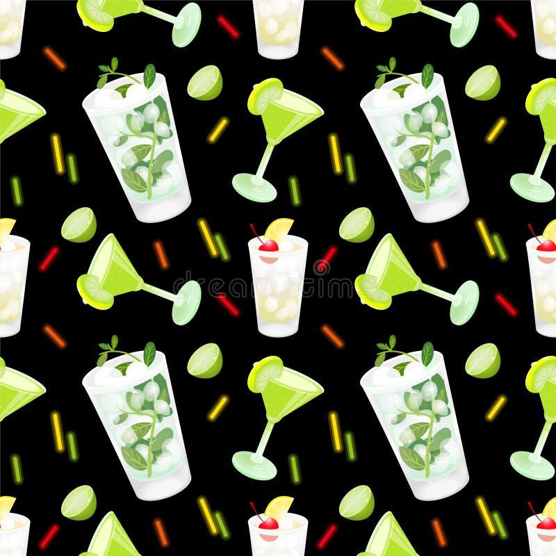 Teste padrão do cocktail ilustração stock