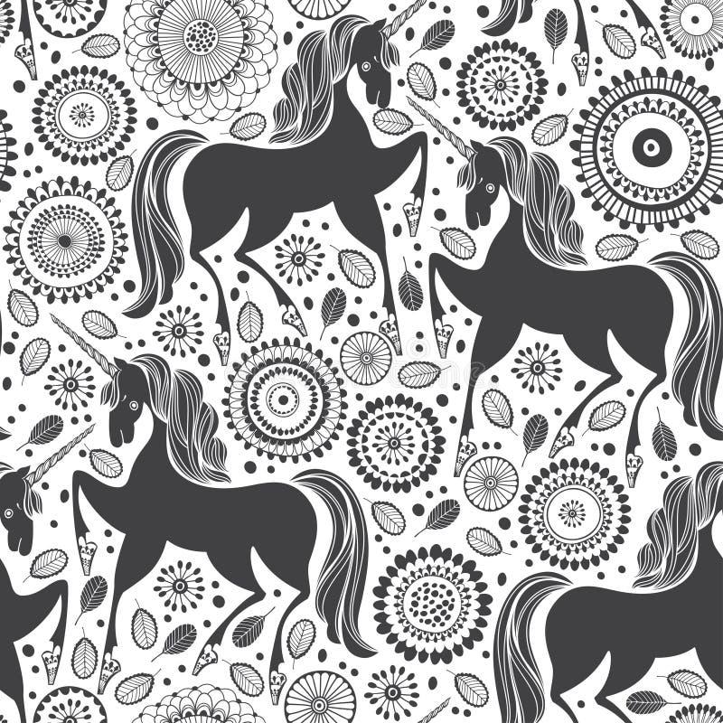 Teste padrão do conto de fadas com unicórnios em um fundo floral Ilustração preto e branco ilustração do vetor
