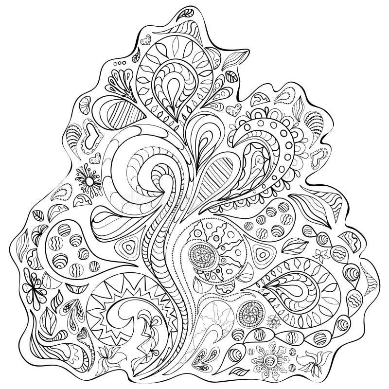 Teste padrão do contorno Ilustração preto e branco ilustração do vetor