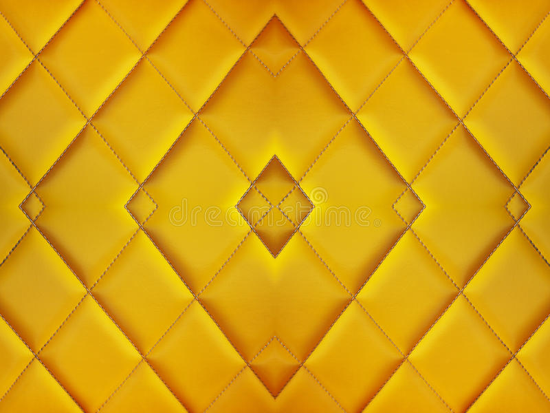 Teste padrão do coxim do diamante do sofá amarelo, da textura e da parte traseira do vintage foto de stock royalty free