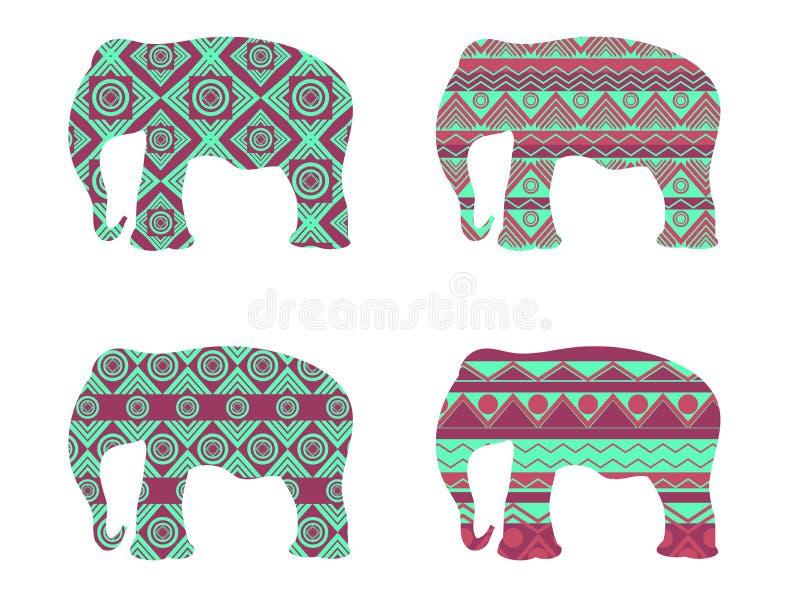 Teste padrão do elefante indiano Teste padrão do elefante do contorno Graphhics do vetor ilustração royalty free