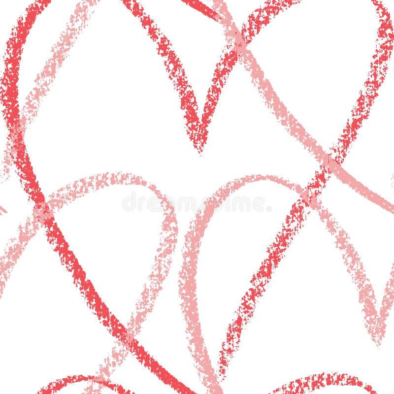 Teste padrão do esboço tirado mão do vetor dos corações Mão sem emenda do fundo da arte do coração tirada pelo desenho de pastel  ilustração do vetor