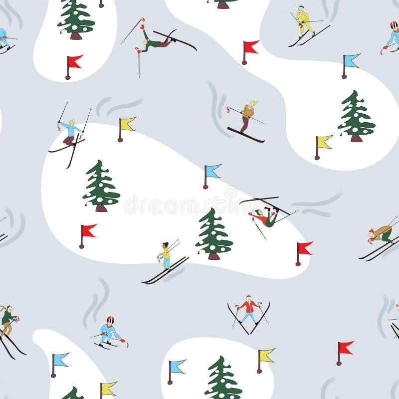 Teste padrão do esqui do inverno ilustração do vetor