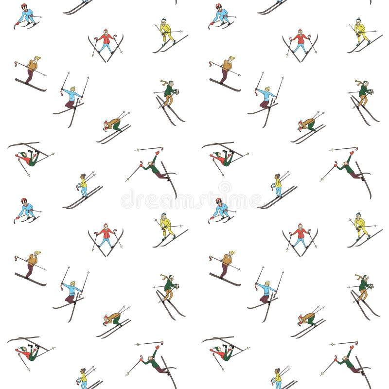 Teste padrão do esqui do inverno ilustração stock