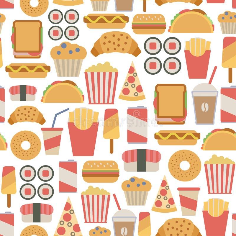Teste padrão do fast food ilustração do vetor