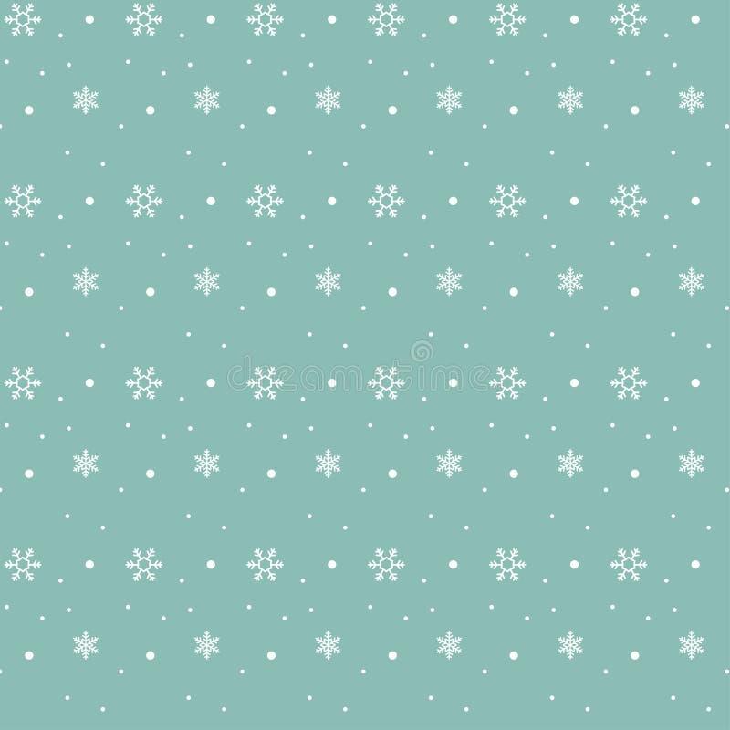 Teste padrão do floco de neve do Natal no fundo pastel de turquesa ilustração stock