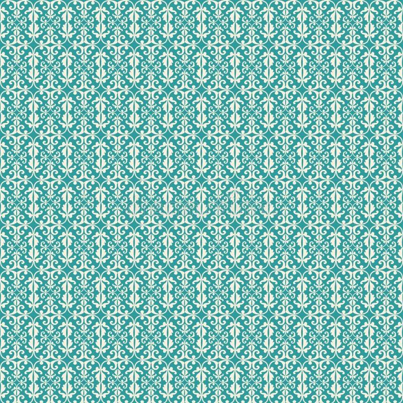 Teste padrão do flourish do estilo da flor de lis do vintage do Aqua ilustração stock