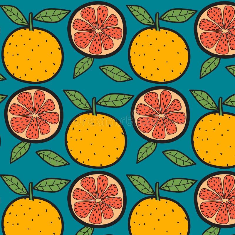 Teste padrão do fruto das laranjas com fundo azul ilustração stock