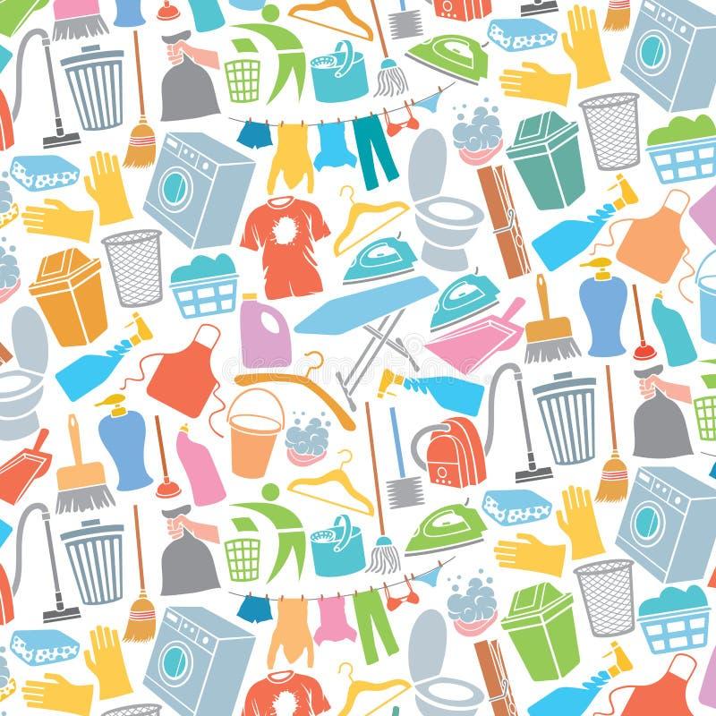 Teste padrão do fundo com ícones da lavanderia e da limpeza ilustração do vetor