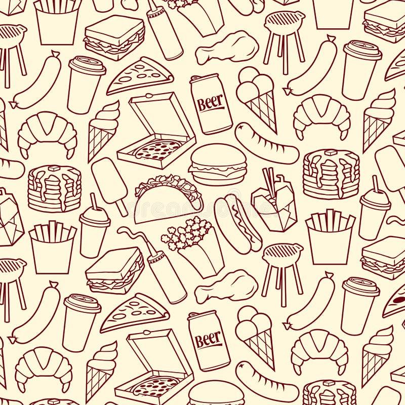 Teste padrão do fundo com ícones do fast food ilustração do vetor