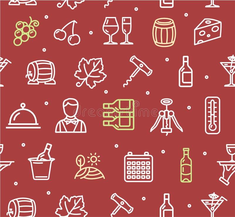 Teste padrão do fundo da bebida da fatura de vinho Vetor ilustração do vetor