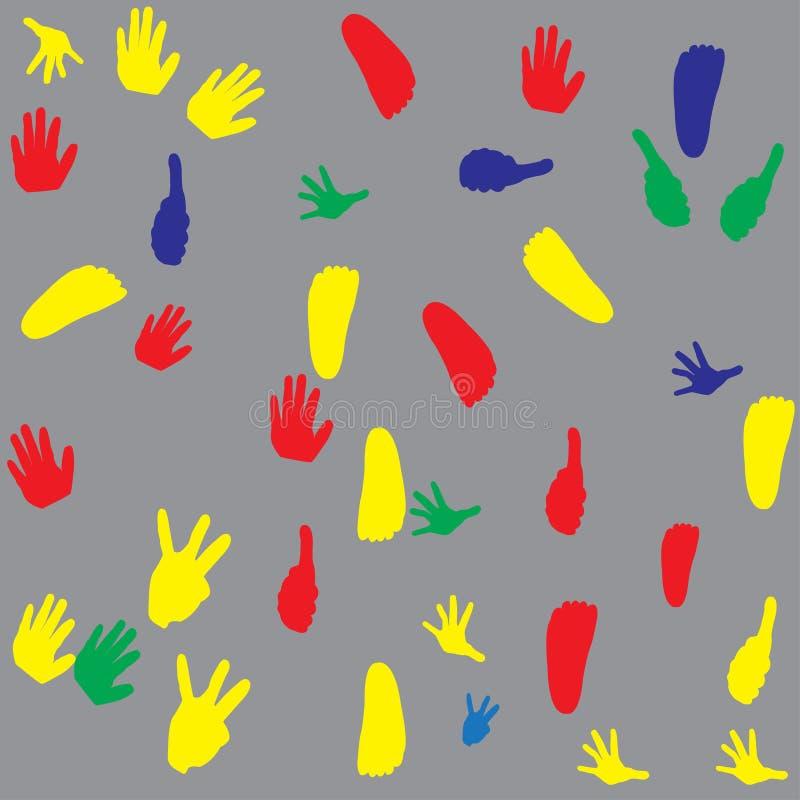 Teste padrão do fundo da textura da mão e do pé dos childern ilustração stock