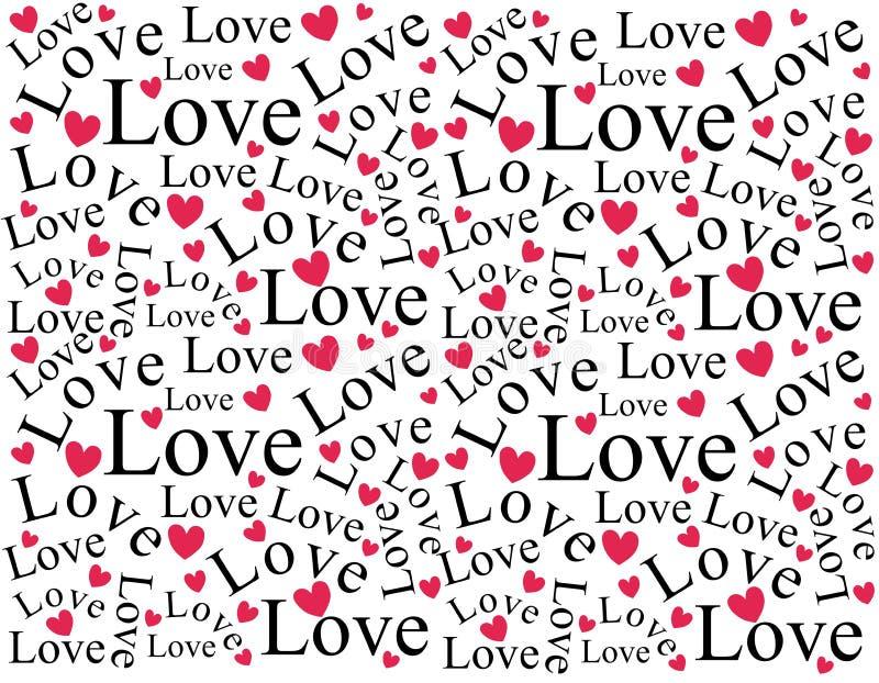 Teste padrão do fundo do amor e dos corações ilustração do vetor