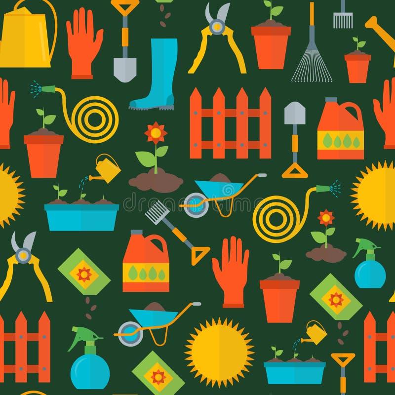 Teste padrão do fundo do equipamento de jardinagem dos desenhos animados Vetor ilustração stock