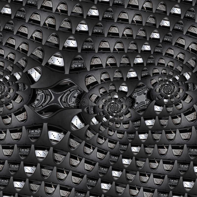 Teste padrão do fundo do fractal do sumário da indústria de carro de raios do pneu do disco de freio dos elementos da roda do aut ilustração do vetor