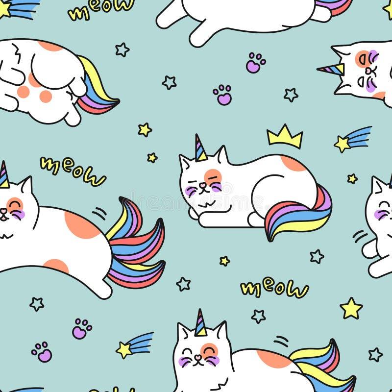 Teste padrão do gato do unicórnio ilustração royalty free