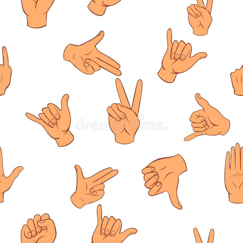Teste padrão do gesto, estilo dos desenhos animados ilustração do vetor