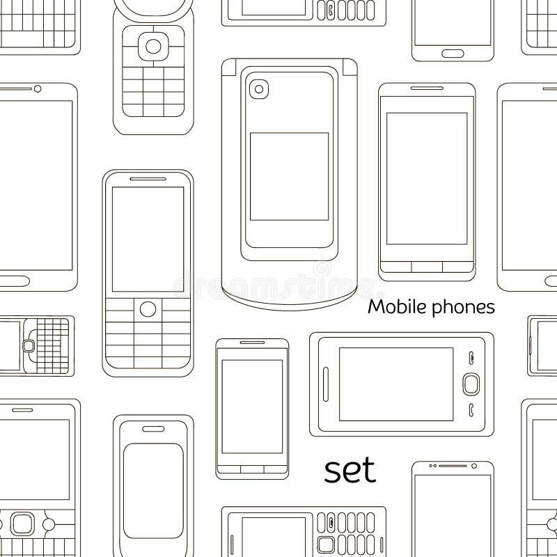 Teste padrão do grupo de telefones celulares ilustração do vetor