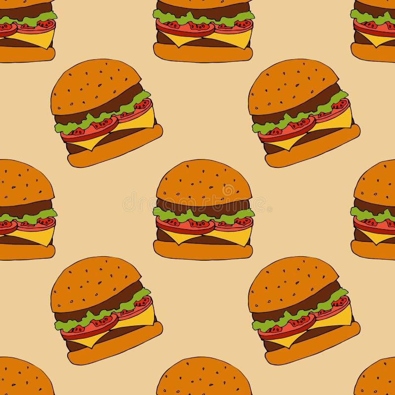 Teste padrão do hamburguer Ilustração desenhada mão Ilustração brilhante dos desenhos animados para o projeto, a tela e o papel d ilustração stock