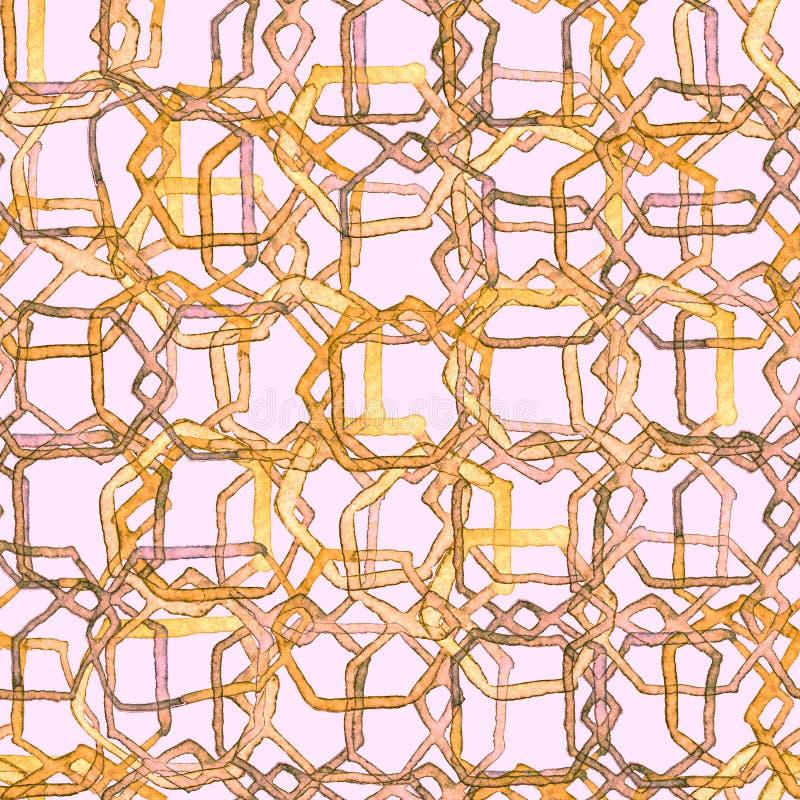 Teste padrão do hexágono Cópia infinita sem emenda da aquarela geométrica ilustração royalty free