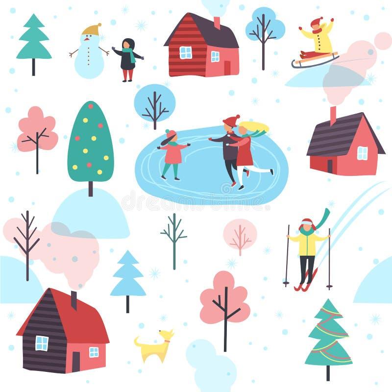 Teste padrão do inverno com as casas dos povos e da casa de campo ilustração royalty free