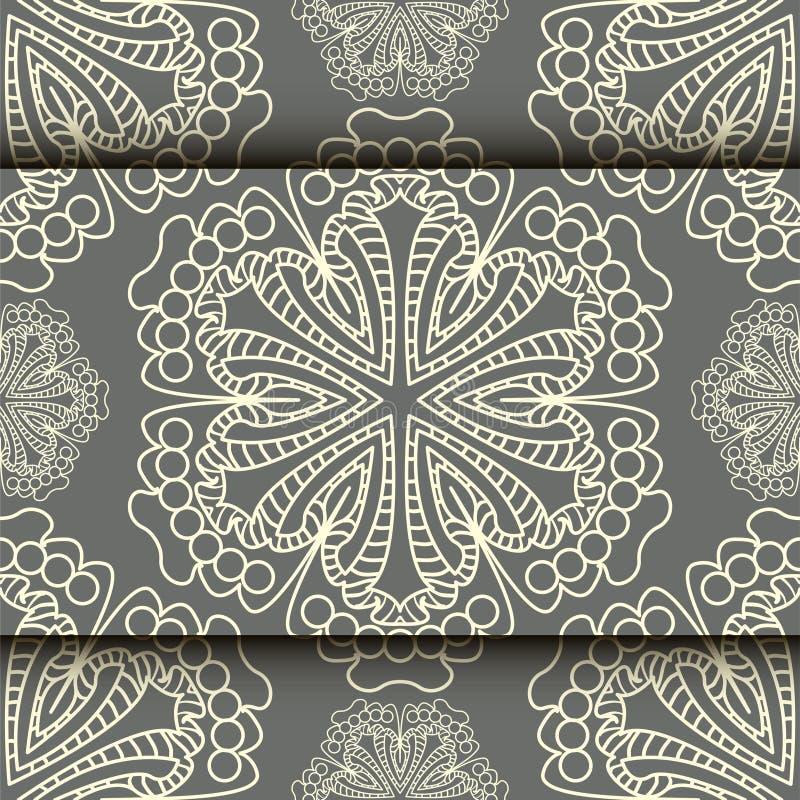 Teste padrão do laço do vetor no estilo oriental no fundo do trabalho do rolo ilustração stock