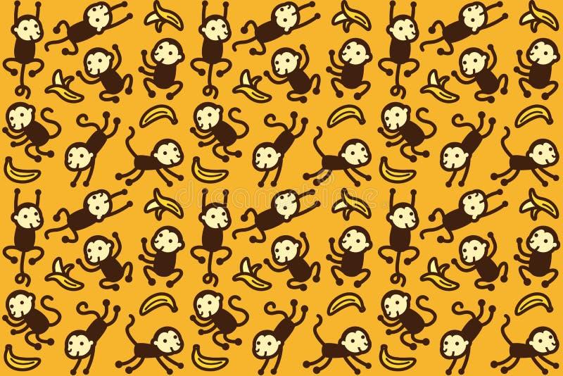 Teste padrão do macaco e da banana ilustração do vetor