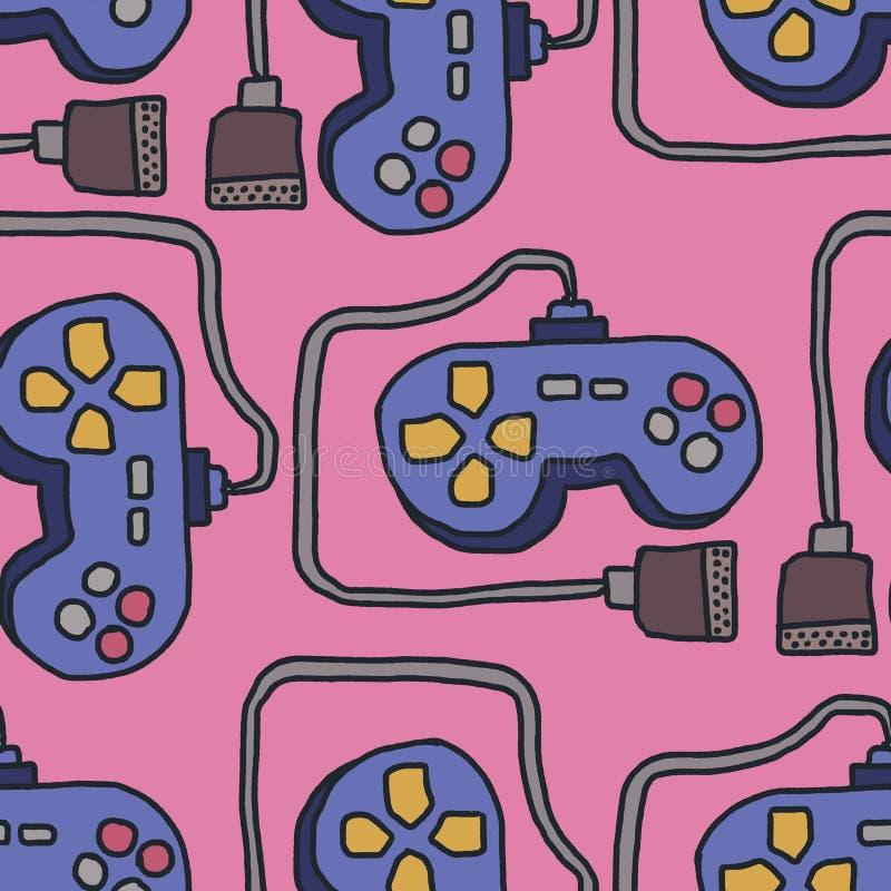 Teste padrão do manche Fundo retro do gamepad Controle dos jogos de vídeo ilustração stock