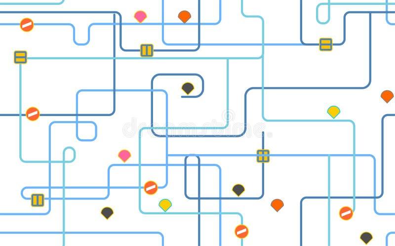 Teste padrão do mapa de rota Fundo da cidade do mapa de estradas Ilustração do vetor ilustração stock