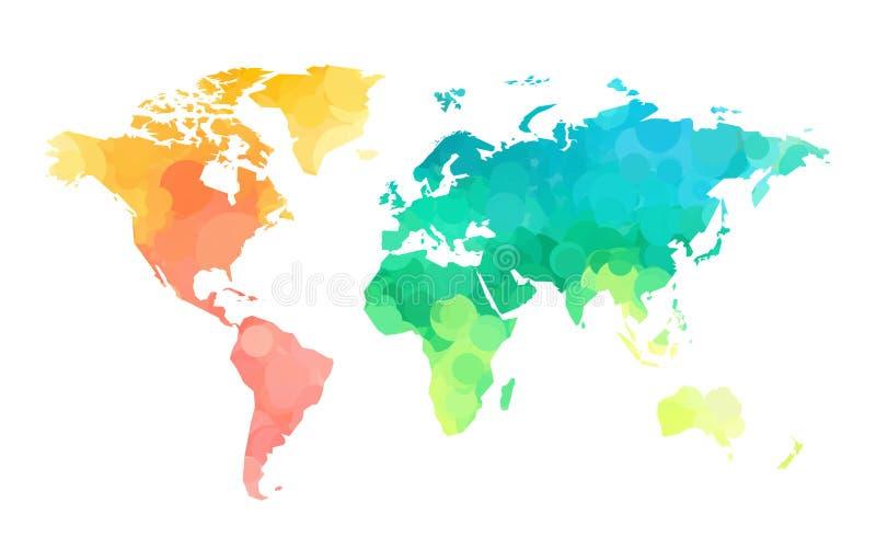 Teste padrão do mapa do mundo dos círculos de cor ilustração stock