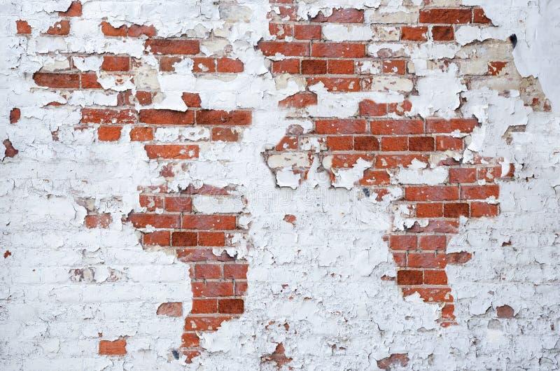 Teste padrão do mapa do mundo na parede de tijolo imagens de stock royalty free