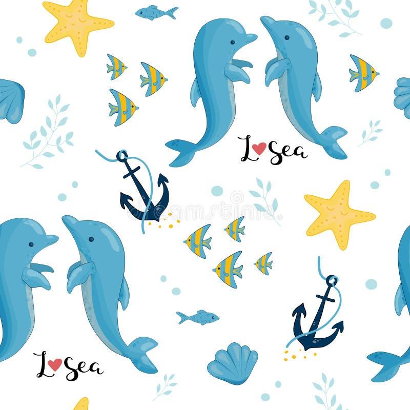 Teste padrão do mar, estrela da âncora dos escudos do golfinho ilustração stock