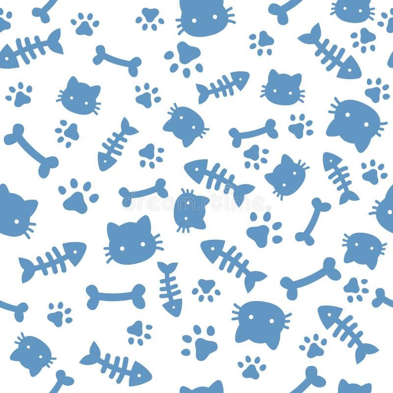Teste padrão do menino do gato Pegadas animais e ossos da pata azul Papel de parede das patas do cão do gato, vetor bonito dos  ilustração royalty free