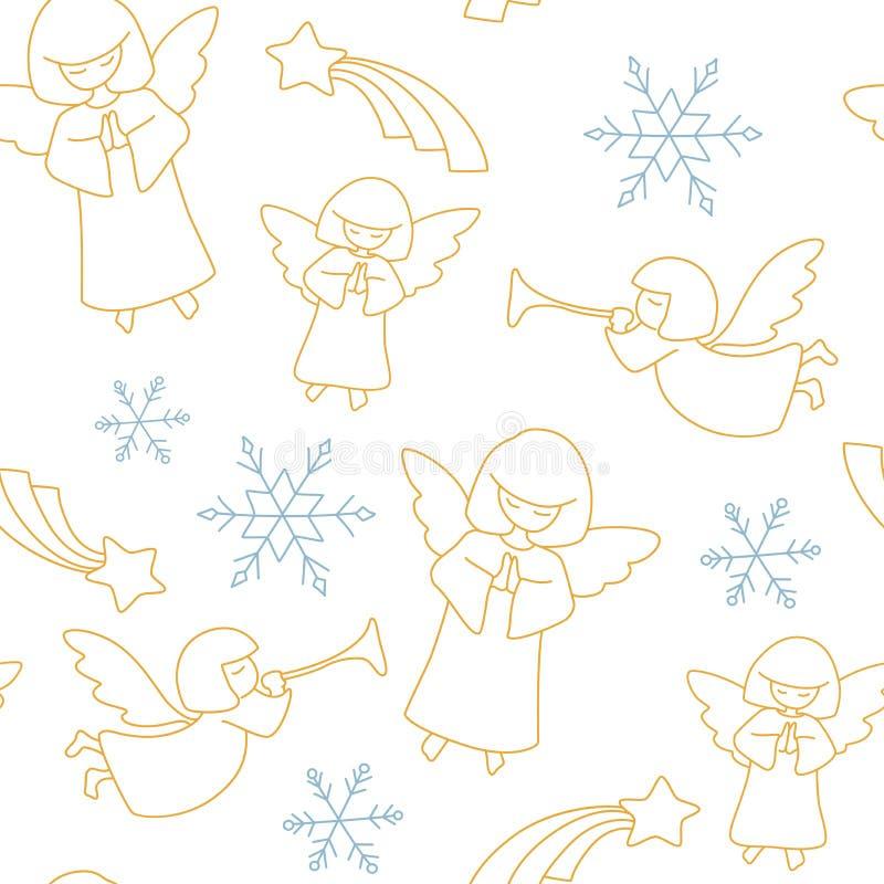 Teste padrão do Natal Anjos, estrelas e flocos de neve ilustração stock
