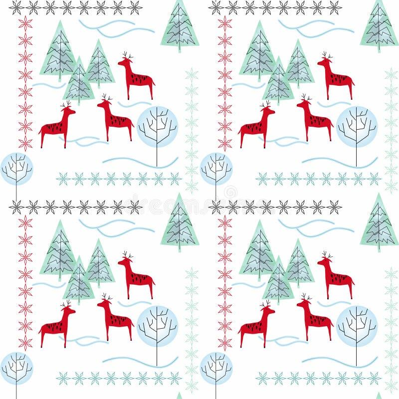 Teste padrão do Natal com árvores de Natal, cervos, flocos de neve no fundo branco ilustração royalty free